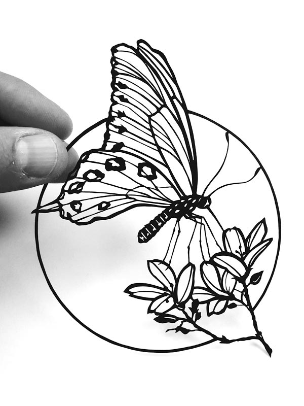 Cadre découpe papier forme papillon