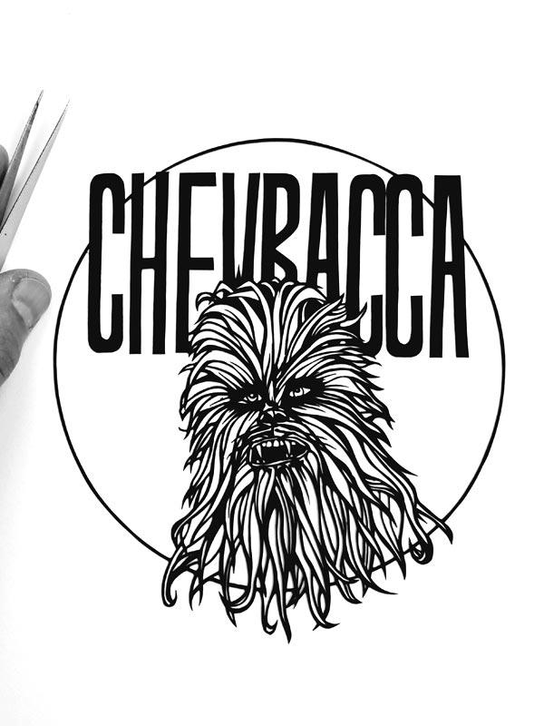Cadre chewbacca déccoupe de papier