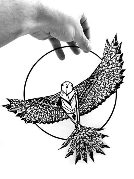 Tableau oiseau découpe de papier